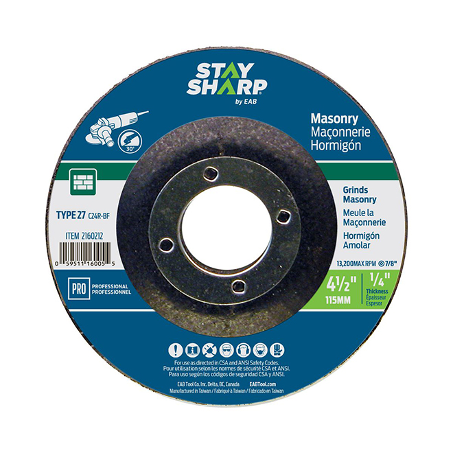 Masonry Depressed-Centre Grinding Wheel - 4 1/2""