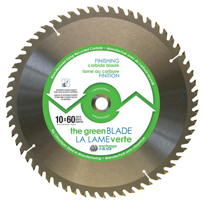 """Green Blade"" Finishing Carbide Blade - 10"" - 60TH"