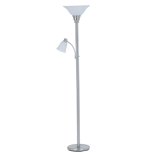 "Torchiere with Reading Lamp 70"" - Brushed Steel"