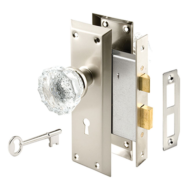 Interior Door Nickel Finish Lock Set with Glass Knobs
