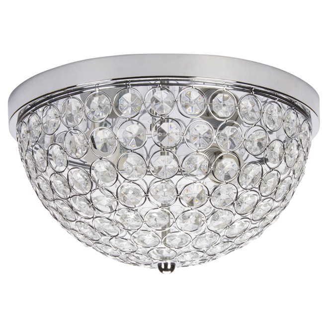 Flush-Mount Light with Crystal Shade Insert - 12.6""