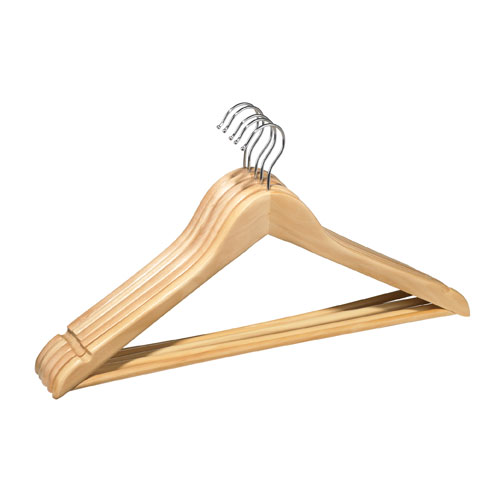 Contoured Wood Hangers - Natural - 5-Pack