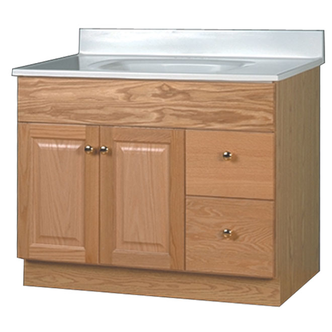 """Bowen"" 2-Door 2-Drawer Vanity Base - Oak"
