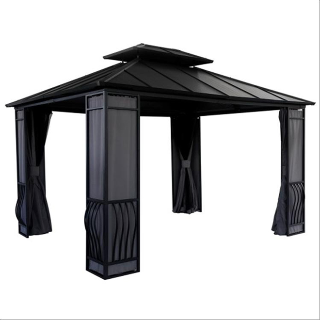 Sun shelter 10 39 x 12 39 black grey rona for Abri mural sun shelter
