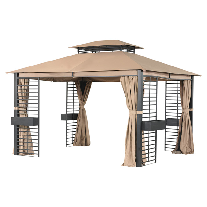 Sun shelter 10 39 x 12 39 dark brown taupe rona for Abri mural sun shelter