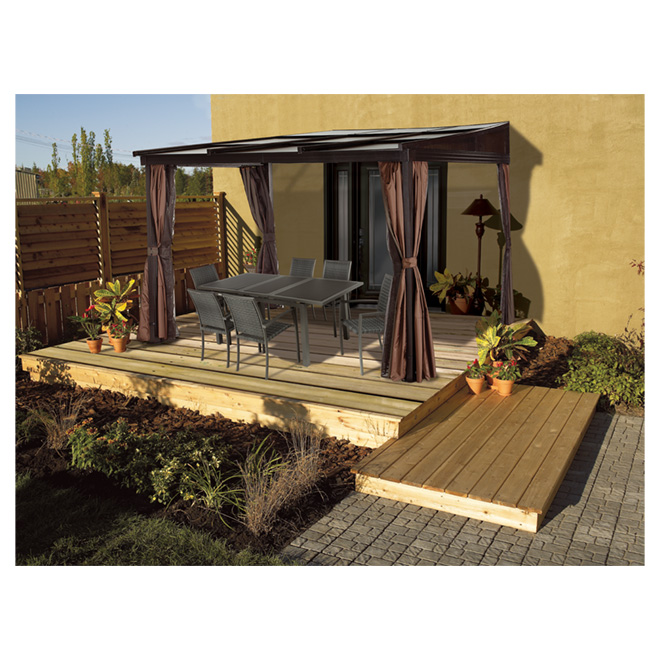 Retractable sun shelter 10 39 x 12 39 dark brown rona for Abri mural sun shelter