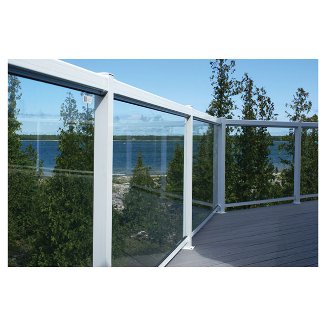 Tempered glass railing panel 66 rona for Garden decking glass panels