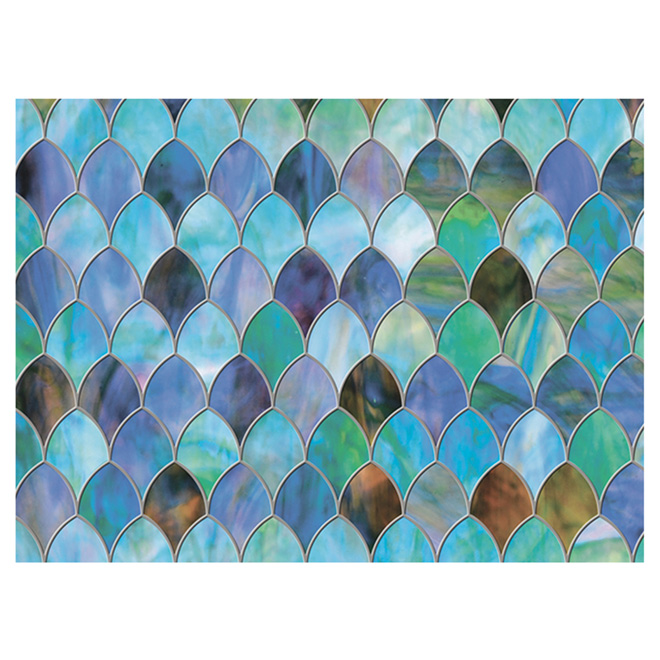 "Static-Cling Widow Film- Peacock - 32.25"" x 78"" - Blue/Green"