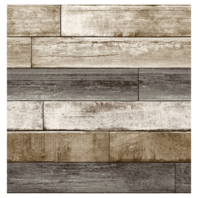 "Wallpaper - Weathered Planking - 20.5"" x 33' - Taupe/Grey"