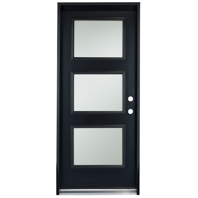 3 panel steel door 34 left black rona for Porte exterieur noir