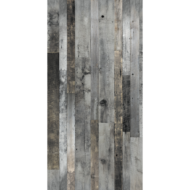 Barn wood look wall panel 48 x 96 grey rona Revetement mural autocollant