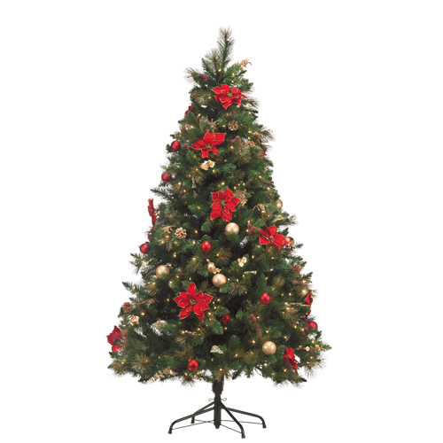 7-ft Lighted decorated Christmas tree