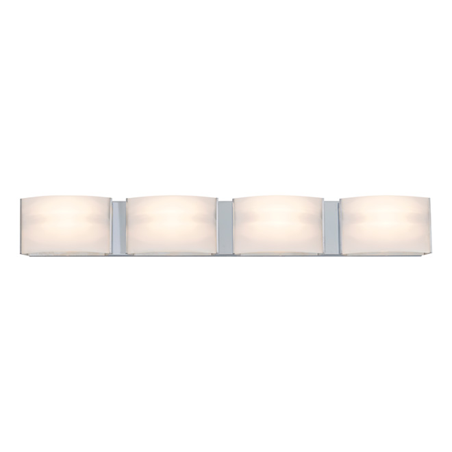 4-Light Wall Sconce - Glass/Metal - Chrome RONA