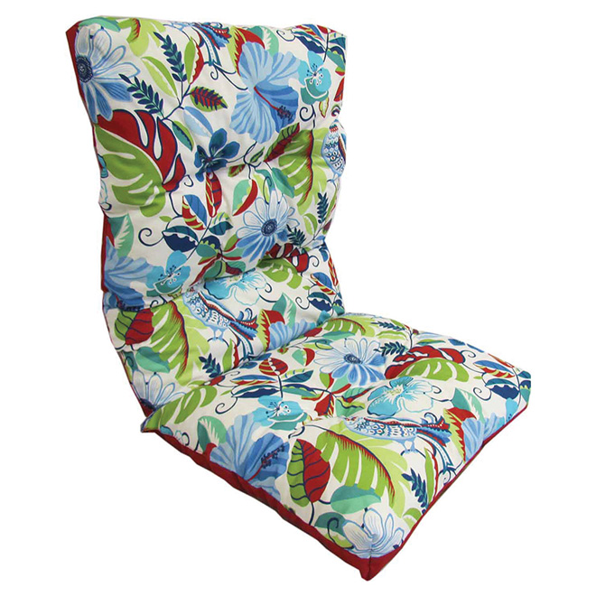 High Back Patio Chair Cushion   Reversible   Blue/Red