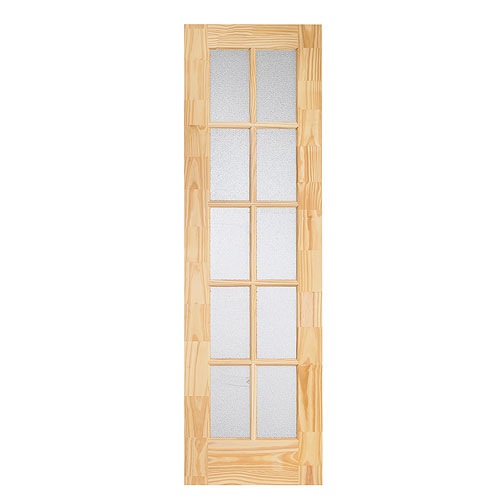 "10-Panel Pine French Door 24"" x 80"" - Natural"