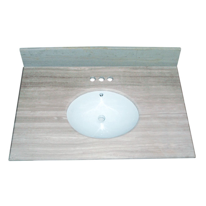 "Vanity Countertop - 37"" x 22"", White/Grey"