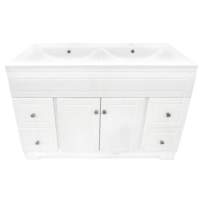 Vanity double sink 2 doors 4 drawers 49 white rona for Lavabo salle de bain rona