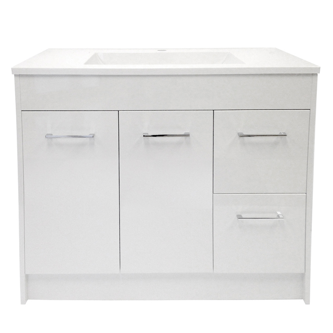 Vanity and sink 2 doors 2 drawers 35 white rona for Armoire de salle de bain rona