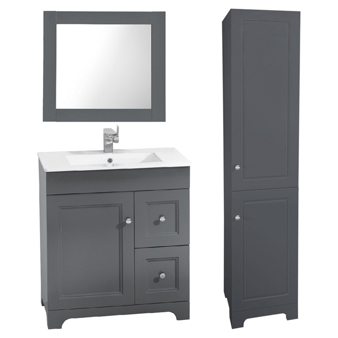 Vanity Sink With Mirror And Linen Cabinet   3 Pieces