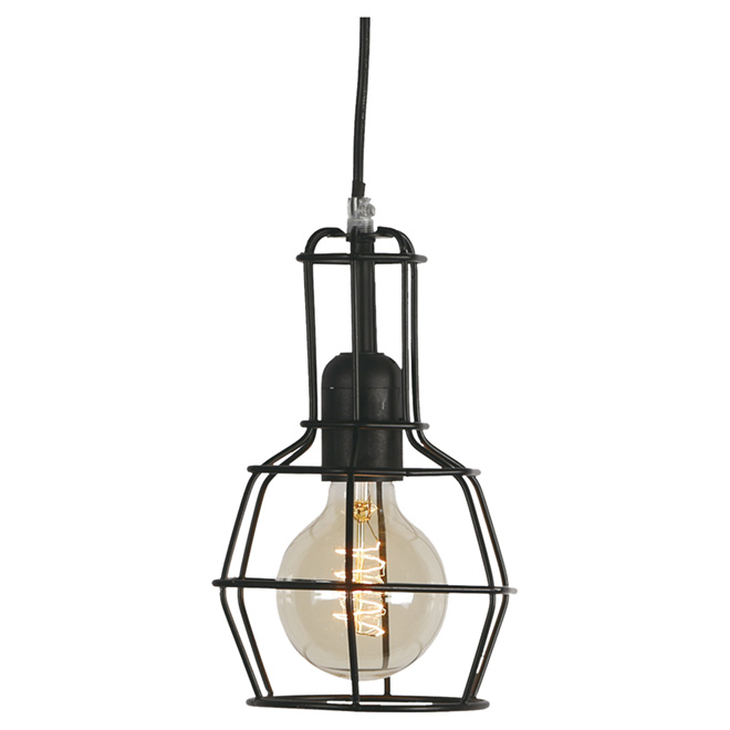 "1-Light Pendant Light - 59"" - Black"