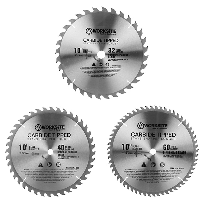 "Set of 3 Circular Saw Blades - 10"" - 32/40/60-tooth"