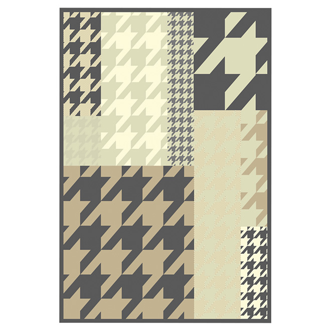 "Area Rug - Polyester - 5'3"" x 7'5"" - Hounds Tooth"