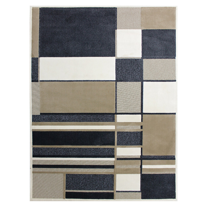 "Area Rug - Geo - Polyester - 5'2"" x 7'4"" - Beige/Blue"