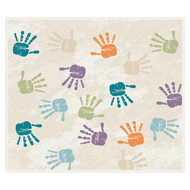 """Handprints"" Area Rug - Multicolored - 3'3"" x 3'9"""