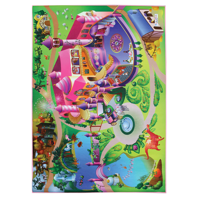Kids Printed Mat 3 ft 3in x 5 ft - Pink