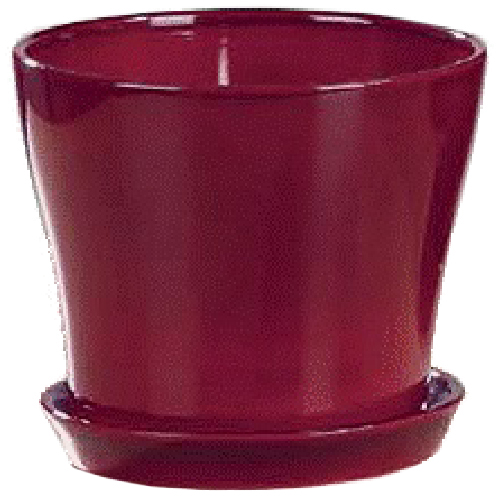 "Ceramic Flower Pot with Saucer 6"" - Red"