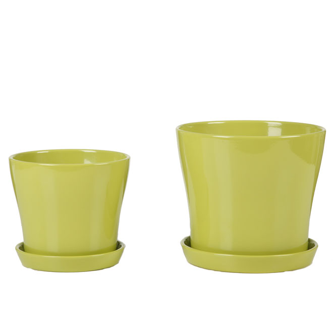 "Ceramic Flower Pot with Saucer 6"" - Lime Green"