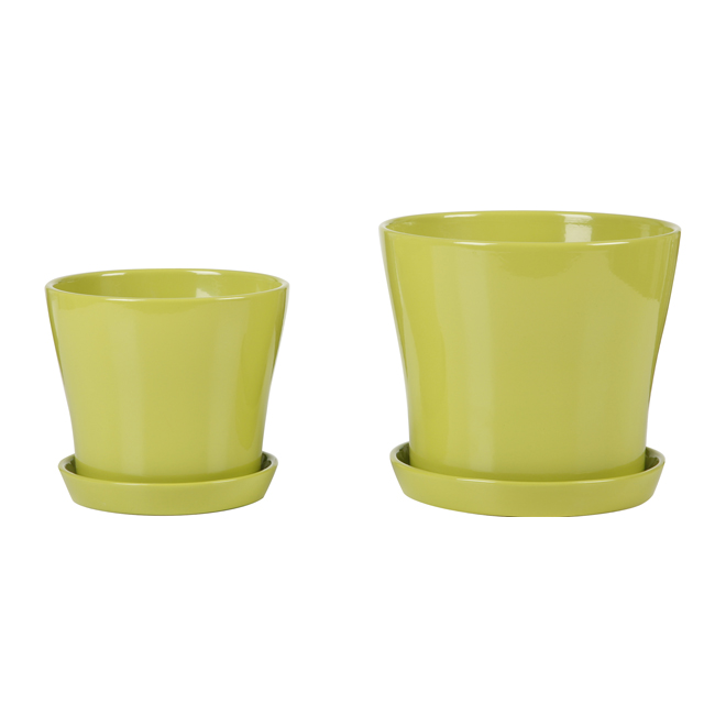 "Ceramic Flower Pot with Saucer 7.5"" - Lime Green"