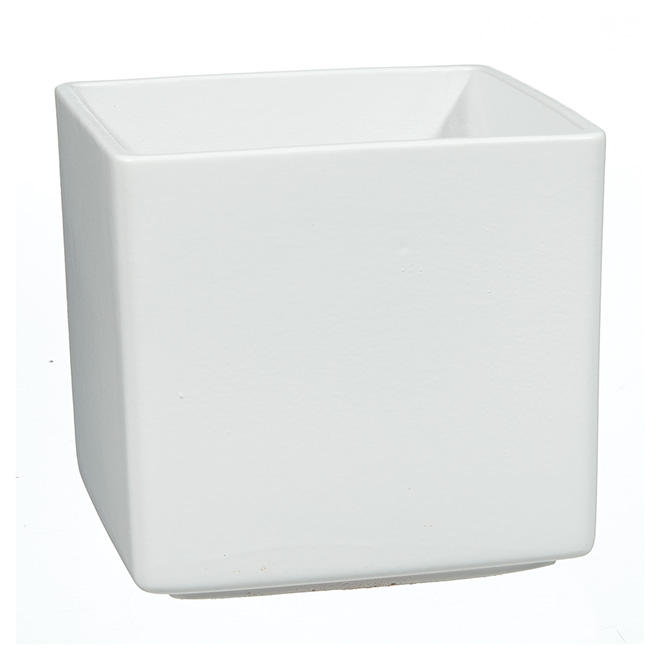"Pot Cover - ""Panna"" Square Ceramic Pot Cover 5"" - White"