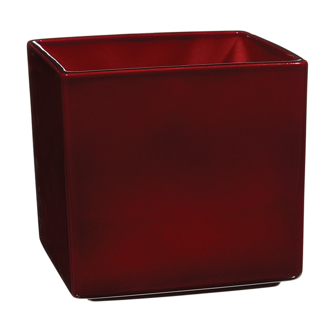 "Pot Cover - ""Panna"" Square Ceramic Pot Cover 5"" - Dark Red"