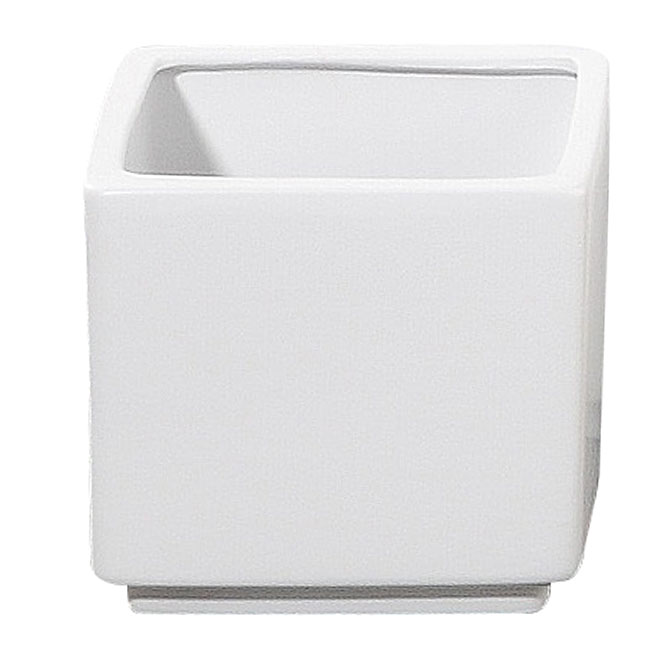 "Pot Cover - ""Panna"" Square Ceramic Pot Cover 7""- White"