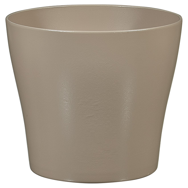 "Ceramic Pot Cover - 8"" - Taupe"