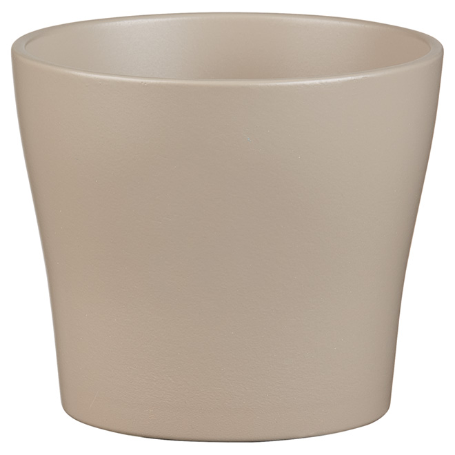 "Ceramic Pot Cover - 5"" - Taupe"