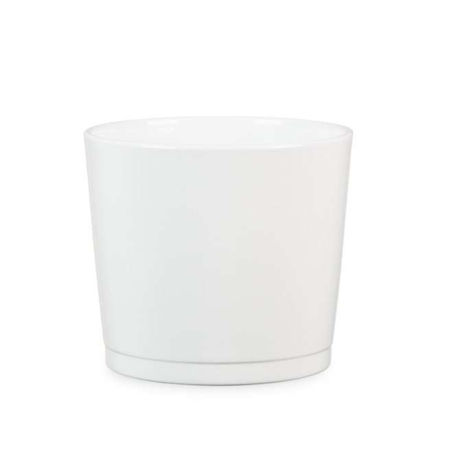 "Ceramic Cover Pot - 883 - 8.6"" - White"
