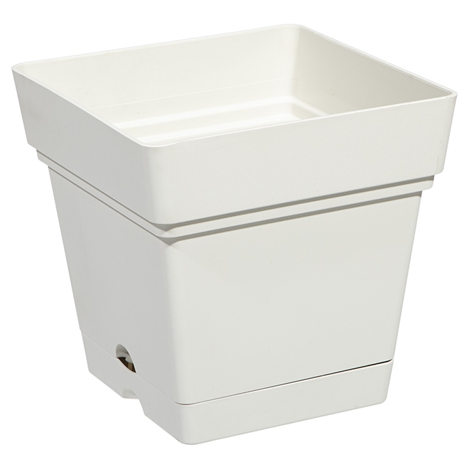 "Square Planter Pot with Saucer - 7"" - Pearl White"