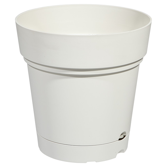 "Planter Pot with Saucer - 8.6"" - Pearl White"