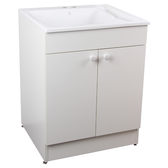 Laundry Sink With Cabinet And Faucet 24 Quot White Rona