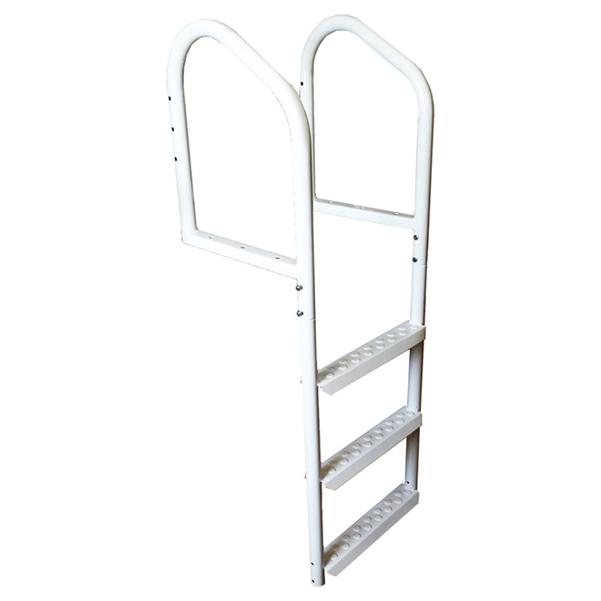 "White Steel Dock Ladder - 48"" x 17"" x 4"""