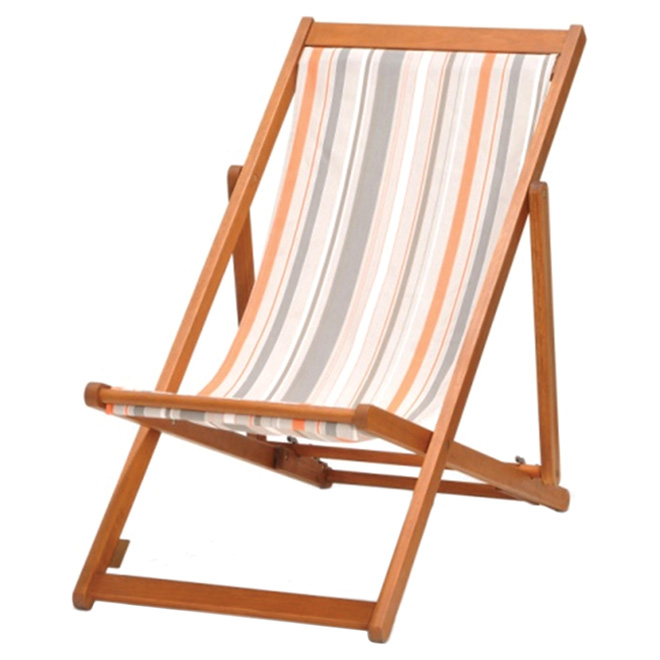 """Kingsbury"" Folding Patio Chair - Wood/Stripes"
