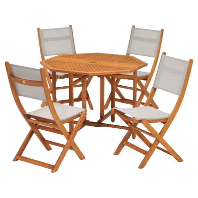 """Kingsbury"" Patio Dining Set - Wood/Grey - 5 Pieces"