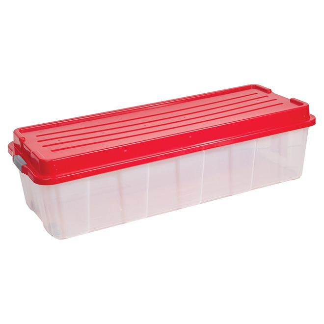 Wheeled Storage Tote with Lid ClearRed RONA