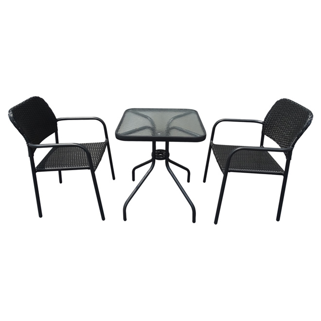 Bistro Set - Black - 3 Pieces
