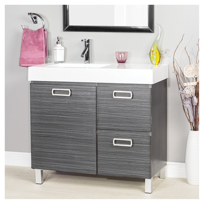 Turenne Vanity With 1 Door And 2 Drawers Dark Grey Rona