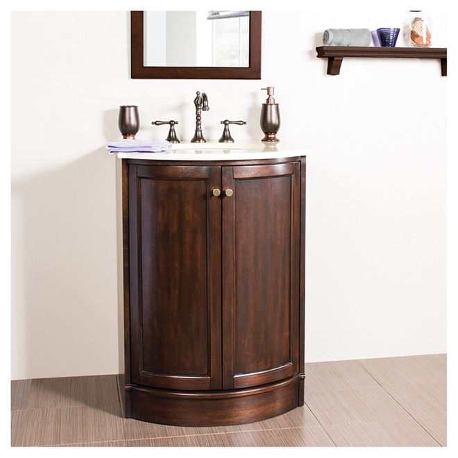 """Catryn"" Vanity with Rounded Doors - Dark Walnut"