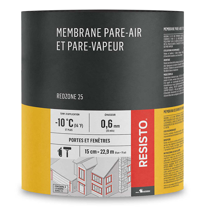 Membrane pare-air/vapeur « Red Zone 25 », 9 po x 75 pi