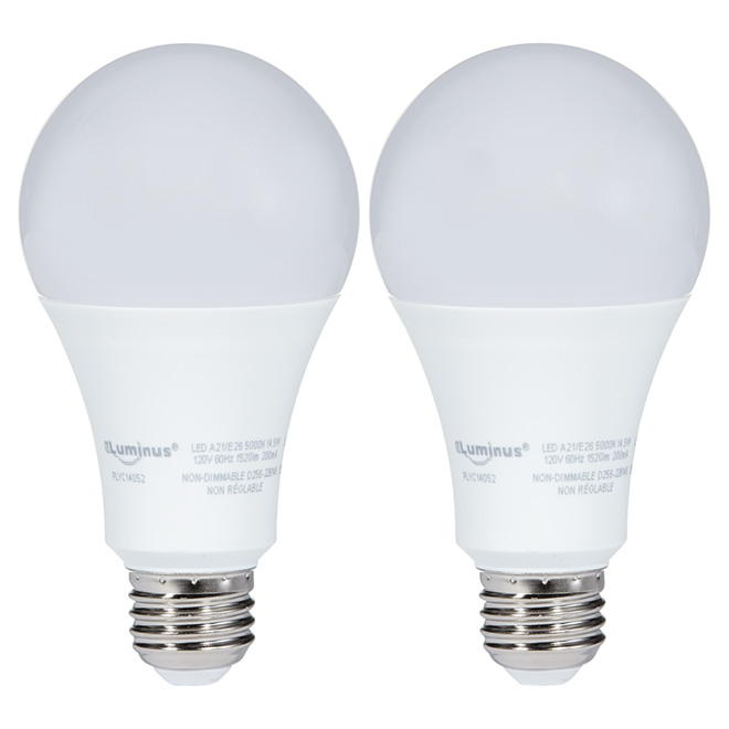 14.5W Non-Dimmable LED A21 Light Bulb - Day Light - 2-Pack